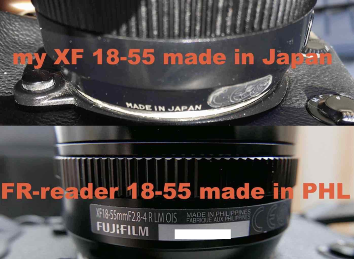 XF18-55 made in Japan (old) and made in Philippines (new)