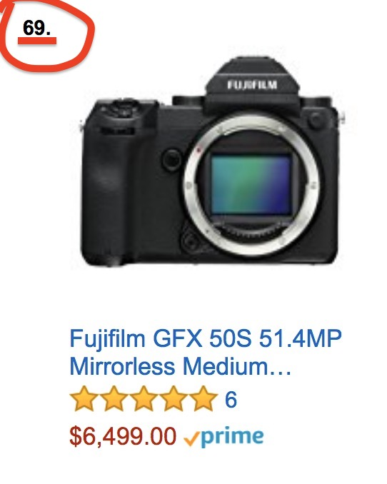 Fujifilm GFX: Currently Ranked #69 in the Mirrorless Camera Ranking