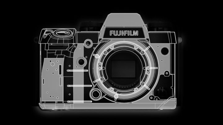 Fujifilm X-H1 with reinforced ribs for use with heavy glass