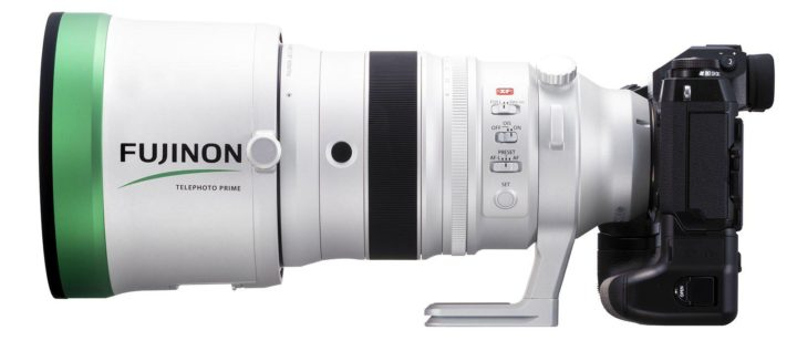 Fujinon XF200 f/2.0 LM OIS WR, with lens hood, mounted on the Fujifilm X-H1