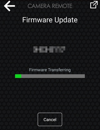 Wait while the smartphone copies the firmware to the camera. (Smartphone View)
