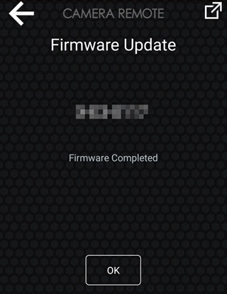Once the smartphone finishes copying the firmware to the camera, the camera will terminate the connection and begin the update automatically. Tap OK on the smartphone to exit when the update is complete.