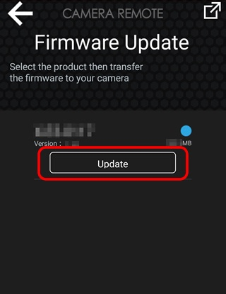 Turn on the destination camera. Tap Update on the smartphone to start copying the firmware to the camera.