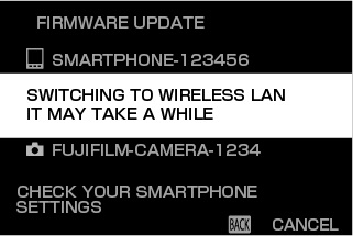 A message will be displayed stating that the camera is switching to a wireless LAN connection.
