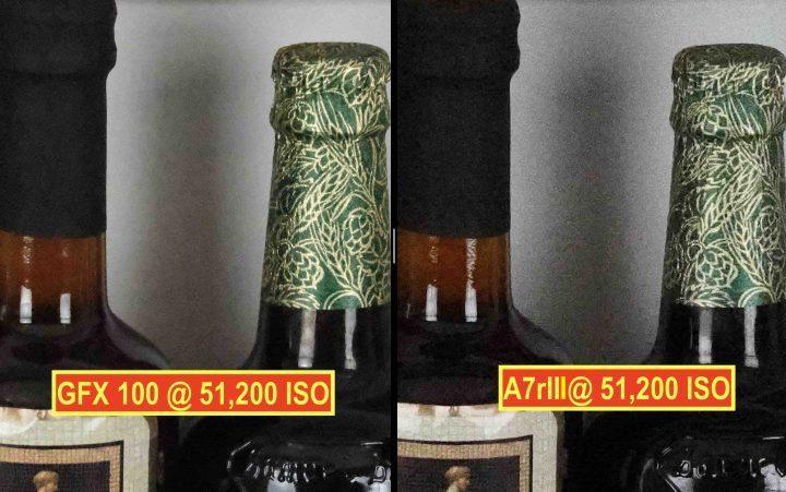 Fujifilm GFX100 vs Sony A7rIII @ ISO 51,200
