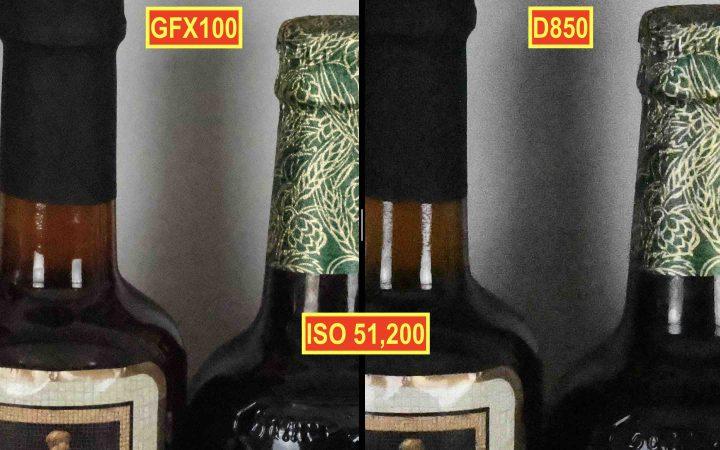 Fujifilm GFX 100 vs Nikon D850 @ ISO 51,200