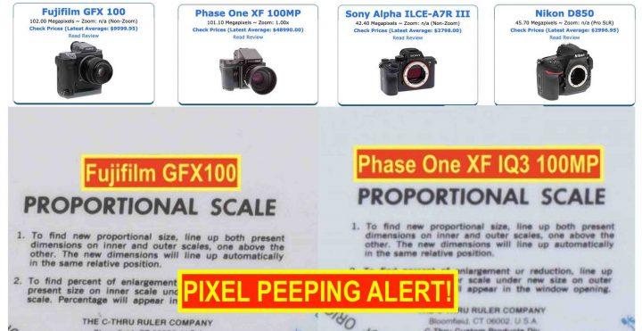 Fujifilm GFX100 Lab Test Images vs Phase One XF IQ3, Sony