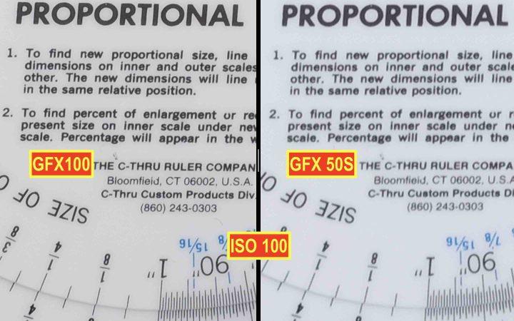 Fujifilm GFX100 vs Fujifilm GFX 50S @ ISO 100