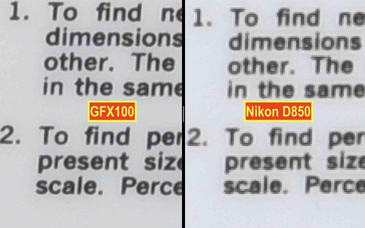 Fujifilm GFX 100 vs Nikon D850 @ ISO100