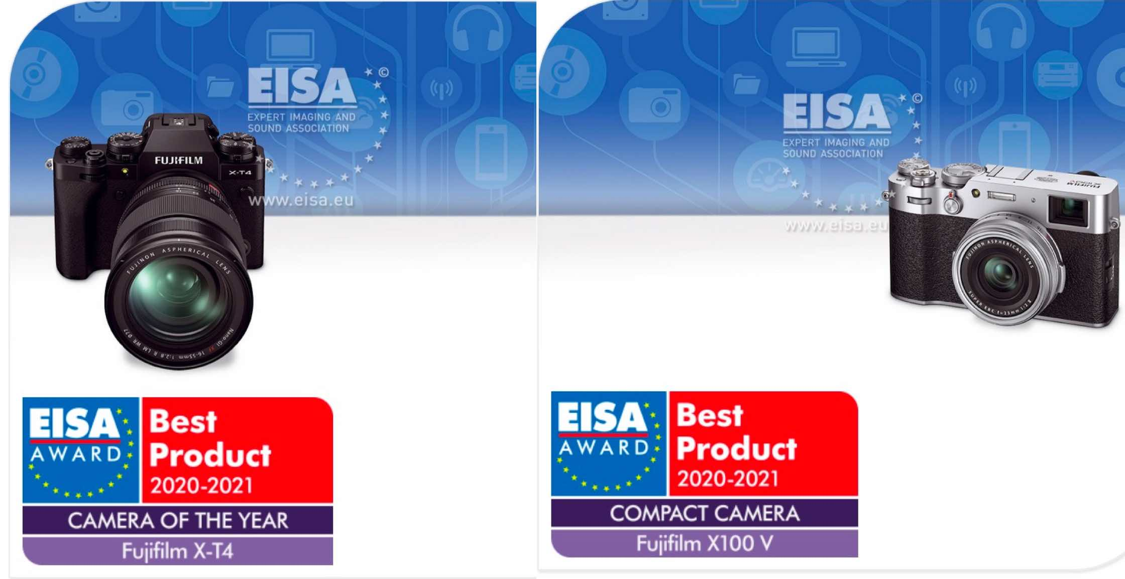 Best Small Camera 2021 EISA Awards: Fujifilm X T4 Best Camera of the Year and X100V Best