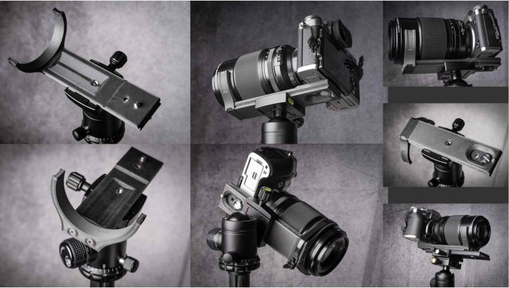 support mounted on a tripod and in action, bottom right mounted on a adjustable skid