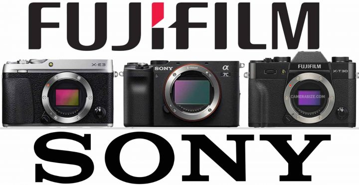 accurate size comparison: Fujifilm X-E3 vs Sony A7c vs Fujifilm X-T30