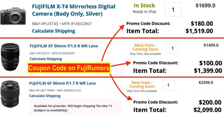 DEAL ALERT: Rebates on All GF Lenses (GF80mmF1.7 Included), X-T4, X100V, X-S10, XF50mmF1.0 and More with This Coupon Code!