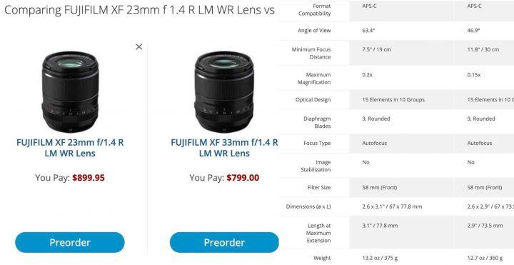Specs Comparison: XF23mmF1.4 vs XF33mmF1.4