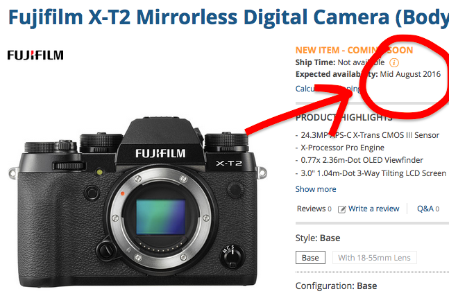 Fujifilm X-T2 available mid August