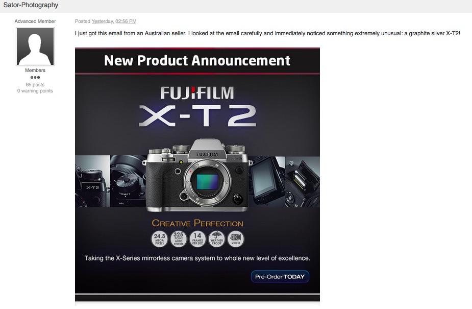 Silver Graphite Fujifilm X-T2