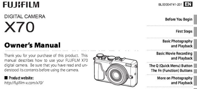 fujifilm x70 and x e2s owner s manual available fuji rumors rh fujirumors com fuji finepix camera manual fuji finepix camera manual