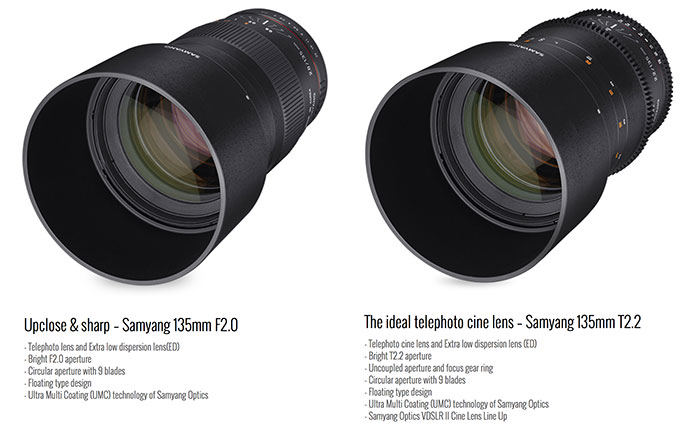 Samyang Launches A New 135mm F/2.0 X-mount Lens (and Cine T/2.2 Version).